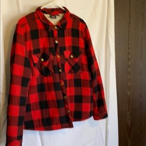 Red and Black checkered fleece lined shirt jacket